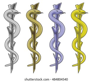 Medical Symbol - Rod of Asclepius is an illustration of the medical symbol in silver, gold, blue and yellow.