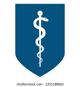 Medical symbol - Staff of Asclepius or Caduceus icon on the shield. The snake entwined around a wooden staff. Other name Rod of Aesculapius. Vector illustration