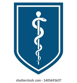 Medical symbol - Staff of Asclepius or Caduceus simple icon on flat the shield. The snake entwined around a wooden staff. Other name Rod of Aesculapius. Vector illustration