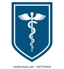 Medical symbol - Staff of Asclepius or Caduceus with wings icon on the flat shield. The snake entwined around a wooden staff with wings. Other name Rod of Aesculapius. Vector illustration