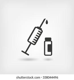 medical symbol. syringe and vial. vector illustration - eps 10