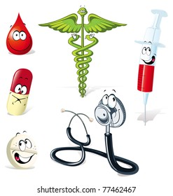 medical symbols with human face isolated on white background