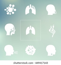 medical symptoms and health problems / disorders icons set / respiratory system problems on bokeh background