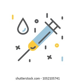 Medical syringe and a drop  icon flat and line modern style illustration isolated on a white background.Health care equipment symbol.Medicine sign