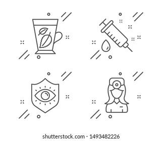 Medical syringe, Eye protection and Mint leaves line icons set. Oculist doctor sign. Vaccination, Optometry, Mentha leaf. Optometrist. Healthcare set. Line medical syringe outline icon. Vector