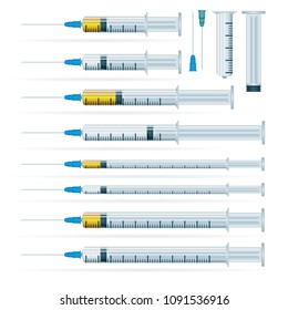 Medical syringe illustrations set. Realistic syringe collection isolated on white background. Syringes for medical drug injection, vaccine for care and treatment.