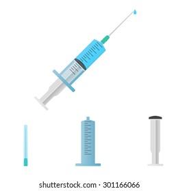 Medical syringe with liquid and droplet on white background. Parts of syringe: needle, syringe barrel, plunger, cap, dosage scale