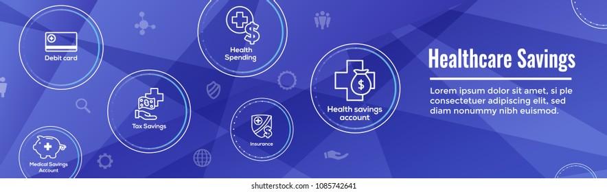 Medical Tax Savings Web Header Banner - Health savings account or flexible spending account - HSA, FSA, tax-sheltered savings