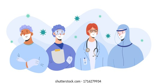 Medical team against coronavirus, doctors wearing masks and protective suits stand together, team work concept, vector illustration, group of characters, hospital staff, covid-19 med aid