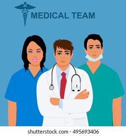 medical team concept, physician, doctor, nurse, vector illustration