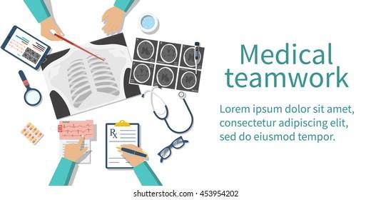 Medical team doctors at desktop. Diagnostic equipment. Research documents. Healthcare concept. Teamwork of doctors. Group surgeons. Flat design, vector illustration. Banner web.