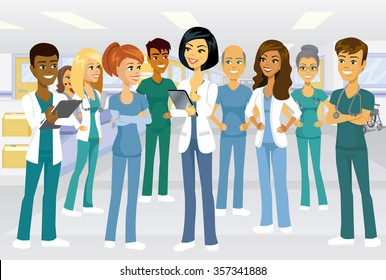 Medical team of doctors and nurses meeting in a hospital setting for lesson, rounds or planning. Male and female characters of many ethnic backgrounds.