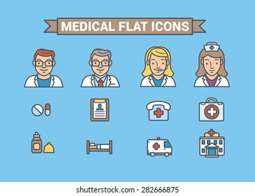 Medical team  and flat doctor  , Medical Icons