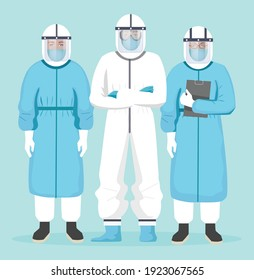 Medical team in hazard suit vector illustration. Doctors in protective suit. Doctor wearing protective suit face shield, gloves to fight COVID-19 pandemic. Medical staff with Personal Protective Equip
