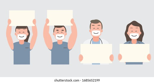 The medical team held the sign with a smile - Vector