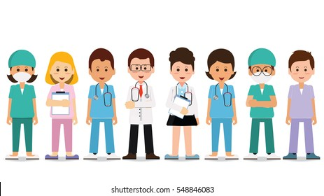 Medical team isolated on white, Set of hospital medical staff, Doctors, nurses and surgeon, Health care and medical concept, cartoon character Vector Illustration.