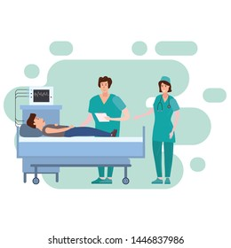 Medical team nurse and doctor consulting patient young men in a medical bed the hospital room. Hospitalization of the patient. Medicine and healthcare concept. Vector illustration flat cartoon
