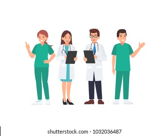 Medical team in uniform. Doctor Nurse and Medicine cartoon character in flat  vector illustration style