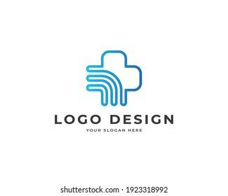 Medical tech wifi logo vector. Modern health technology logo design