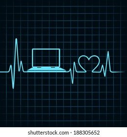 Medical technology concept -heartbeat make a laptop icon