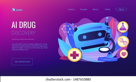 Medical technology, futuristic health diagnostics. AI in healthcare, AI drug discovery, AI diagnosis system, medicine of the future concept. Website homepage landing web page template.