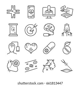 Medical Technology line icon set. Included the icons as online doctor nano capsule, nano robot, clone, digital brain and more.