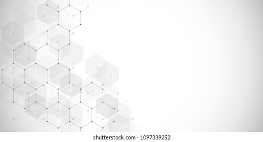 Medical technology or science vector background. Molecular structure and chemical compounds