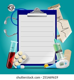 Medical template with medicine equipment and notes medical frame. Vector Illustration