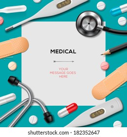 Medical template with medicine equipment, vector illustration.