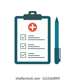 Medical test with pen in flat style. Questionnaire on a clipboard paper. Medical form list with test results, insurance or medicine service concept, prescription record. Vector illustration.