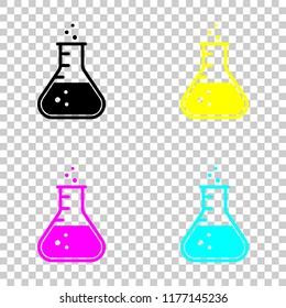 Medical test tube icon. Colored set of cmyk icons on transparent background
