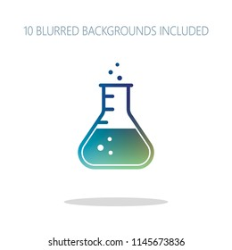 Medical test tube icon. Colorful logo concept with simple shadow on white. 10 different blurred backgrounds included