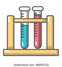 Medical test tubes in holder icon. Cartoon illustration of medical test tubes in holder vector icon for web design