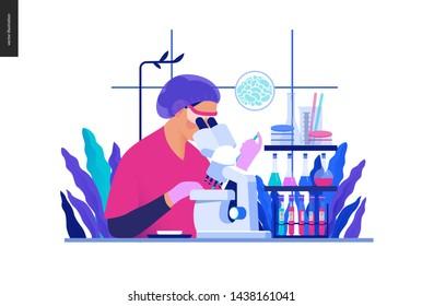 Medical tests Blue illustration -chemical laboratory analysis - modern flat concept digital illustration - laboratory analysis -woman laboratory assistance, microscope, medical office, laboratory