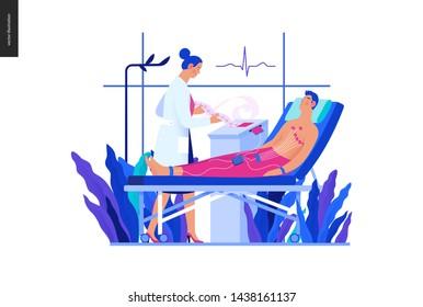 Medical tests blue illustration -ECG test -modern flat vector concept digital illustration of electrocardiography procedure -patient, sensors, doctor carrying out procedure, medical office, laboratory