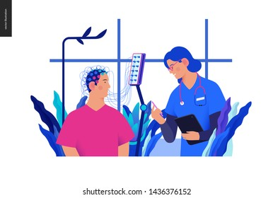 Medical tests Blue illustration- EEG - electroencephalography -modern flat vector concept digital illustration of encephalography procedure -a patient with head electrodes and doctor in medical office