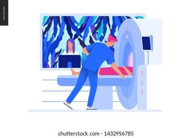 Medical tests Blue illustration - MRT - magnetic resonance tomography - modern flat vector concept digital illustration of MRI procedure - patient inscanner and doctor, medical office or laboratory