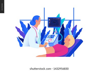 Medical tests Blue illustration - ultrasound - modern flat vector concept digital illustration of ultrasonography procedure -doctor examing patient pregnant woman scanner, medical office or laboratory