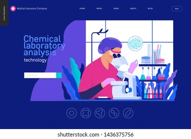 Medical tests Blue template -chemical laboratory analysis - modern flat vector concept digital illustration - laboratory analysis -woman laboratory assistance, microscope, medical office or laboratory