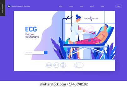 Medical tests blue template -ECG test -modern flat vector concept digital illustration of electrocardiography procedure -patient sensors and doctor carrying out procedure, medical office or laboratory
