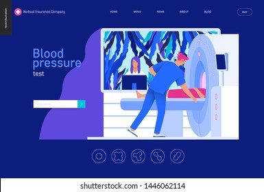Medical tests Blue template - MRT - magnetic resonance tomography - modern flat vector concept digital illustration of MRI procedure - a patient in the scanner and doctor, medical office or laboratory