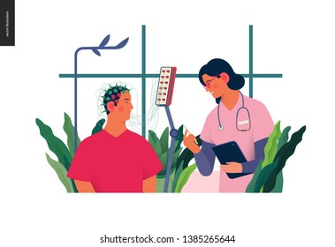 Medical tests illustration - EEG - electroencephalography - modern flat vector concept digital illustration of encephalography procedure - a patient with head electrodes and doctor in medical office