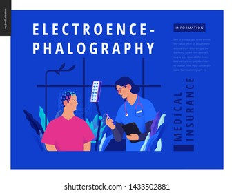 Medical tests template Blue - EEG - electroencephalography - modern flat vector concept digital illustration of encephalography procedure - a patient with head electrodes and doctor in medical office
