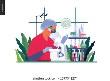 Medical tests template. chemical laboratory analysis - modern flat vector concept digital illustration of laboratory analysis. woman laboratory assistance with microscope, medical office or laboratory