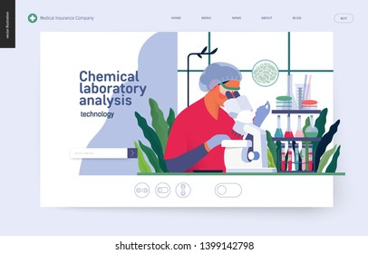 Medical tests template -chemical laboratory analysis - modern flat vector concept digital illustration of laboratory analysis -woman laboratory assistance with microscope, medical office or laboratory