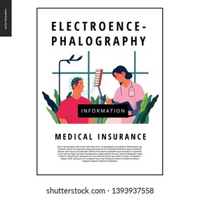 Medical tests template - EEG - electroencephalography - modern flat vector concept digital illustration of encephalography procedure - a patient with head electrodes and doctor in medical office