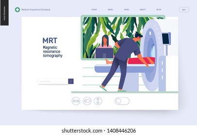 Medical tests template - MRT - magnetic resonance tomography - modern flat vector concept digital illustration of MRI procedure - a patient in the scanner and doctor, medical office or laboratory