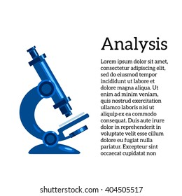 medical tests, vector illustration with a microscope, the study of human diseases. Medical tests and studies, review of germs and bacteria, micro-organisms through a microscope.