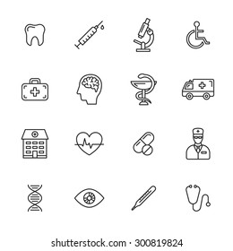 Medical thin line icons