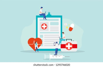 Medical Tiny People Character Concept Vector Illustration, Suitable For Wallpaper, Banner, Background, Card, Book Illustration, And Web Landing Page
